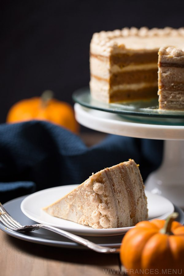 This recipe makes a gorgeous three-layer naked Pumpkin cake frosted with Graham Cracker Cream Cheese Buttercream. It is moist, fluffy and subtle in its sweetness. Excellent for thanksgiving and any fall occasion! www.Frances.Menu